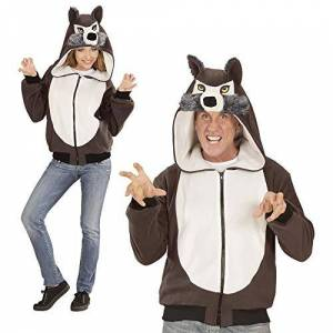 WIDMANN 07017Adult Costume Wolf?Hooded Pullover?Grey