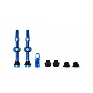1056 Muc-Off Blue Tubeless Presta Valves, 44mm - Premium No Leak Bicycle Valves With Integrated Valve Core Removal Tool