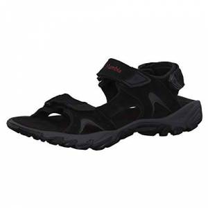 Columbia Men's Santiam 3 Strap Sandals, Black (Black, Mountain Red 010), 10 UK