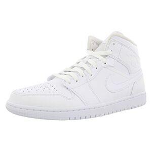 Nike Men's Air Jordan 1 Mid Basketball Shoes, White (White/White/White 129), 12 UK