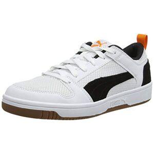 Puma Unisex Adults Rebound Layup Lo Mesh Trainers, White White Black-Jaffa Orange-Gum, 12 UK 47 EU
