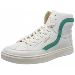 Superdry Men's Basket Lux Trainer Sneaker, White/Aqua, 11 UK