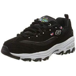 Skechers Girls' D'Lites-Bright Blossoms Trainers, Black (Black Duraleather/Satin/Multi Trim Blk), 1.5 UK (34 EU)