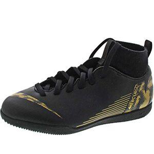 Nike Unisex Kid's JR SUPERFLYX 6 Club IC Futsal Shoe, Black/MTLC Vivid Gold, 1.5 UK