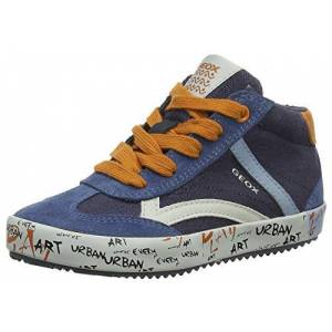Geox J Alonisso Boy G Hi-Top Trainers, Blue (Navy/Dk Orange C4218), 3 Boy UK (36 EU)