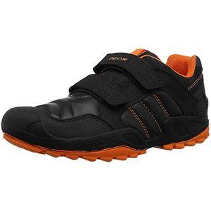 Geox Boys J New Savage Boy a Sneaker, Black (Black/Orange C0038), 1.5 UK (34 EU)
