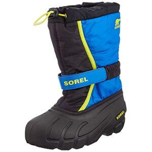 Sorel Unisex Kid's Youth Flurry Snow Boot, Black, Super Blue, 1 UK 33 EU