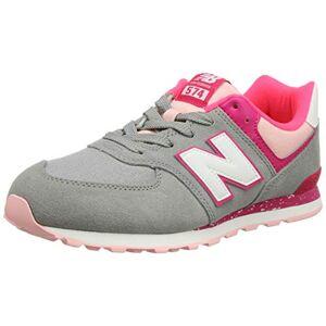 New Balance Unisex Kids' 574v2 Trainers, Grey (Grey/Pink Zing Hb), 4 (37 EU)