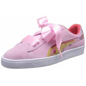 Puma Girls' Suede Heart Trailblazer SQN Jr Low-Top Sneakers, Pink (Pale Pink-Hibiscus White), 6 UK