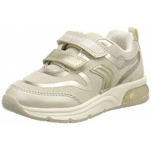 Geox Girls' J SPACECLUB C Low-Top Sneakers, Beige (Beige/Lt Gold C5379), 1.5 UK Child