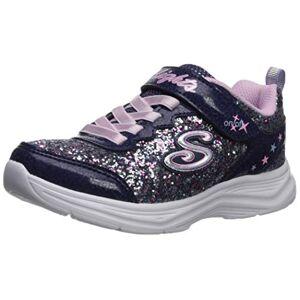 Skechers Girls' Glimmer Kicks N' Glow Trainers, Blue (Navy & Multi Rock Glitter/Lavender & Lt Pink Trim Nvlv), 1.5 (34 EU)