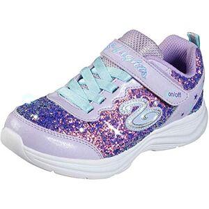 Skechers Girls' Glimmer Kicks N' Glow Trainers, Purple (Lavender Rock Glitter/Aqua & Pink Trim Lvaq), 1.5 (34 EU)