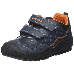 Geox Boys' J Athiss B Low-Top Sneakers, Blue (Navy/dk Orange), 1.5 UK