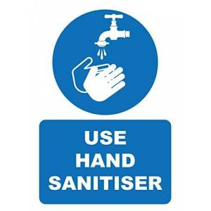 UK Safety Store Use Hand Sanitiser Sign 150mm x 200mm - Self Adhesive (HYB.11W-SA)