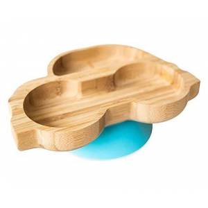 0793591755335 eco rascals Natural Bamboo Plates for Baby Toddler Car Shaped Baby Suction Plate Stay Put Feeding Plate for Weaning with Two Large Sections Detachable Suction Base