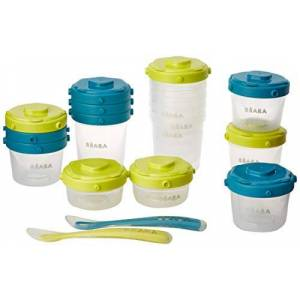 913441 BÉABA - Set of 12 Baby Food Storage Container + 2 Silicone Spoons - Stackable and clippable pots - 100% Airtight with Measurement indication - Freezer safe - 2x60 ml & 4x120 ml & 6x200ml - Blue