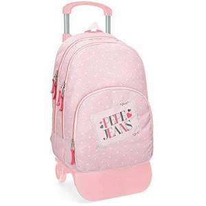 Pepe Jeans Olaia Double compartment Backpack with trolley Pink 32x44x22 cms Polyester 30.98L