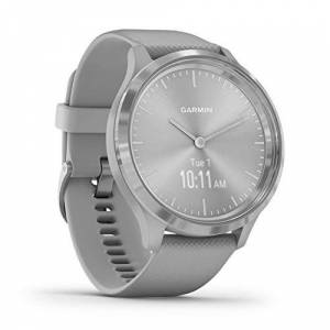 Garmin vivomove 3 Hybrid Smartwatch with Real Watch Hands and Hidden Touchscreen Display, Powder Grey Silicone with Silver Hardware