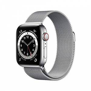 Apple Watch Series 6 GPS + Cellular, 40mm Silver Stainless Steel Case with Silver Milanese Loop