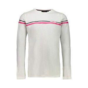 CMP Girls' T-Shirt A Maniche Lunghe 95% Cotone, B.Co Gesso, 110