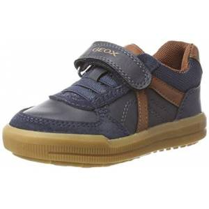 Geox Boys' J Arzach E Sneaker, Blue Navy Browncotto Cf46g, 2.5 UK
