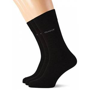 GANT Men's 3-Pack Soft Cotton Socks, Black, One Size (Pack of 3)
