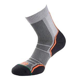1000 Mile Women's Trail Twin Pack Running Socks, Grey/Orange, 3-5.5 UK/Small