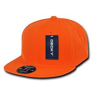 Decky Adult-Men Retro Fitted Caps Head Wear-Orange, Size 28