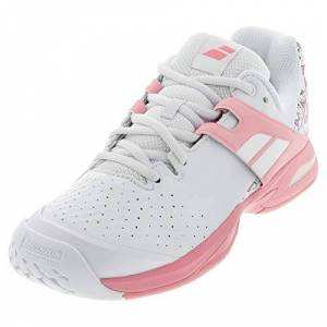 Babolat Unisex Adults' Propulse AC Junior Tennis Shoes, White/Geranium Pink, 5 UK
