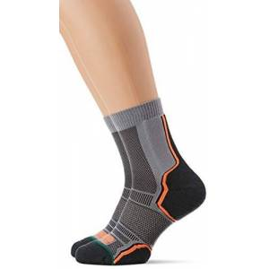 1000 Mile Men's Trail Twin Pack Running Socks, Grey/Orange, 6-8.5 UK/Medium