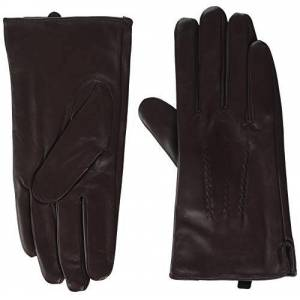 "Snugrugs Men's Premium Soft Leather Glove, Brown (Brown Brown), Medium (Size: 9"")"