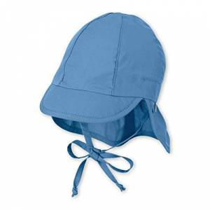 Sterntaler Baby Girls' Cap with Visor and Neck Protection Hat, Blue (Samtblau 399), XXXX-Large (Size:47)