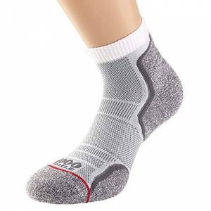 1000 Mile Run Anklet Single Layer Sock Twin Pack White M