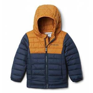 Columbia Boys' Hooded Jacket, Powder Lite, Collegiate Navy, Canyon Gold, Medium