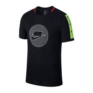 Nike Men's M NK WILD RUN TOP SS T-Shirt, Black/Electric Green/Pale Ivory, S