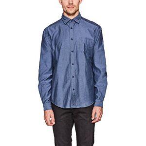 ESPRIT Men's 107ee2f014 Casual Shirt, Blue (Dark Blue 405), 41 (Size: Large)