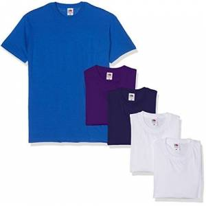 Fruit of the Loom Men's Valueweight Short Sleeve T-Shirt Pack of 5, White/Navy/Purple/Royal, Large