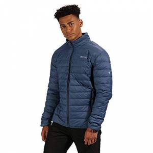 Regatta Men's Whitehill Lightweight & Compressible Water Repellent Packaway Down Jacket Baffled/Quilted, Dark Denim, Medium