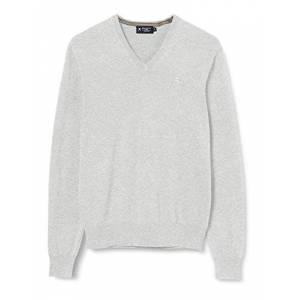 Hackett Men's Cotton Silk V Neck Jumper, Grey (908pale Grey 908), XXX-Large