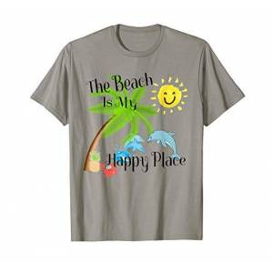 Beach Themed Vacation Custom Designs The Beach is My Happy Place Vacation 4 Dolphins Palms + Sun T-Shirt