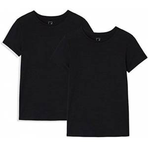 Meraki Amazon Brand - MERAKI Women's Short Sleeve Crew Neck T-Shirt Pack of 2, Multicoloured (Black Beauty/Black Beauty), 14, Label:L