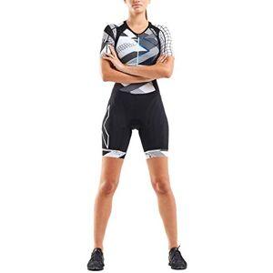 2XU Women's Compression Sleeved Trisuit, Black/Chroma, L