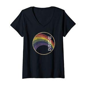 Gay Pride Rainbow Tshirts And Clothing Womens LGBTQ Vintage Rainbow Gay Pride V-Neck T-Shirt