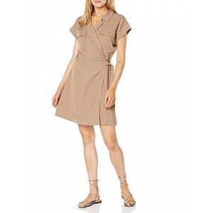The Drop Women's Joanie Short Sleeve Wrap Front Utility Mini Dress, Mushroom, XS