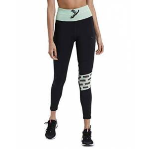 Puma Women's Feel It Mesh 7/8 Leggings, Black/Green Glimmer, Large