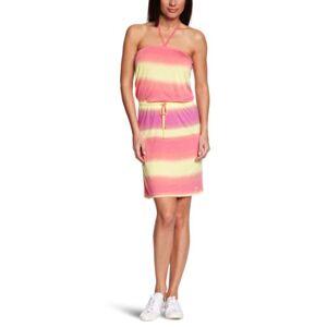 O'Neill Aqua Stripe Halterneck Women's Dress Pink AOP Large