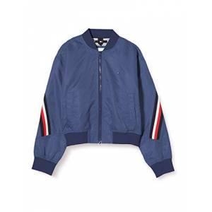 Tommy Hilfiger Girl's Global Stripe Taped Bomber Jacket, Blue (Twilight Navy C87), 6-7 Years (Size:6)