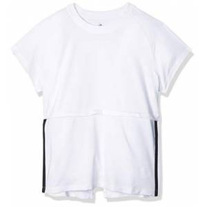 adidas Women's T-Shirt 3-Stripes Cap SLV T-Shirt, Womens, Ladies' T-Shirt, FL2047, White/Black, S