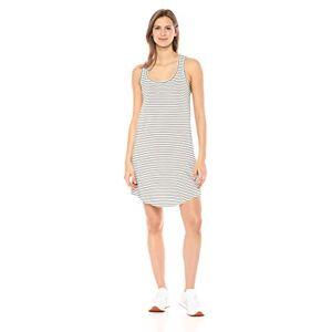 Daily Ritual Women's Supersoft Terry Racerback Shirttail Dress, White/Black Stripe, M