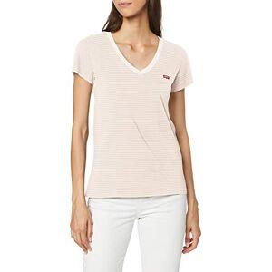 Levi's s Perfect Vneck T-Shirt, Annalise Stripe Sepia Rose, Large